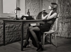 Author at a desk