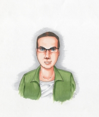 Author portrait - Theo. Copic markers from sketch